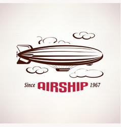 retro airship emblem template vector image