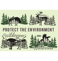 set of emblems with wild animals forest vector image