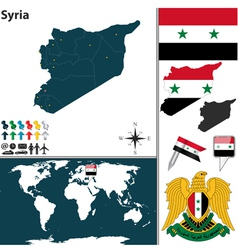 Syria map world vector image vector image