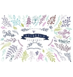 Big collection of different hand drawn floral vector image vector image