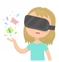 Girl in a virtual reality glasses vector image vector image
