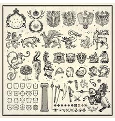Heraldic elements collection vector