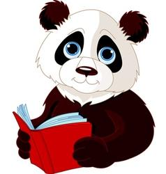 Panda reading a book vector image vector image