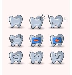 teeth set on white background vector image