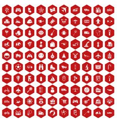 100 toys for kids icons hexagon red vector image vector image