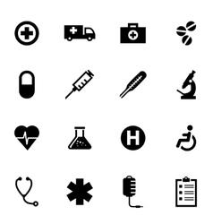 black medical icon set vector image vector image