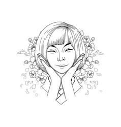 cute asian girl vector image