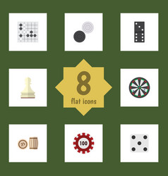 flat icon games set of chequer lottery pawn and vector image vector image