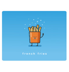 flat icon of french fries funny character vector image