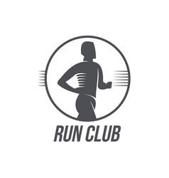 run club logo logotype template with jogging man vector image