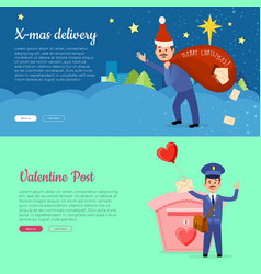 xmas delivery and valentine post banner with vector image vector image