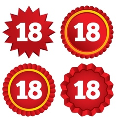 18 years old sign Adult label symbol vector