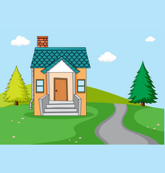 a simple house in nature background vector image