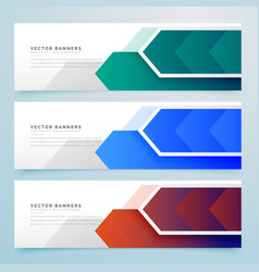Abstract arrow geometric banners set vector
