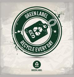 alternative green label stamp vector image