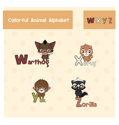 animal abc from letter w-z vector image