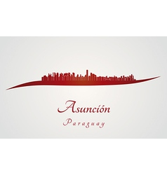 Asuncion skyline in red vector image