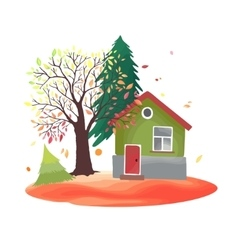 Autumn countryside with rustic house vector