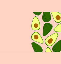 Avocado pink background with cute drawing vector