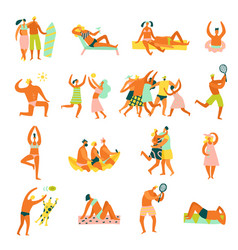 Beach vacation people set vector