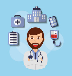beard doctor with stethoscope and medical icons vector image