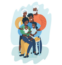 Big happy black family vector
