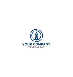 blue h lighthouse logo design vector image