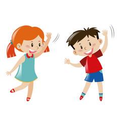 boy and girl dancing vector image