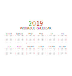 Calendar 2019 with happy children vector