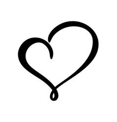Calligraphic love heart sign romantic vector