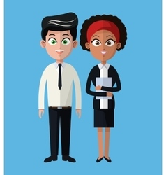 cartoon man and woman working business team vector image