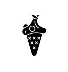 cherry ice cream black icon sign on vector image