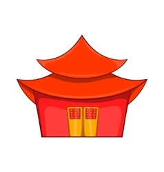 Chinese pagoda icon in cartoon style vector