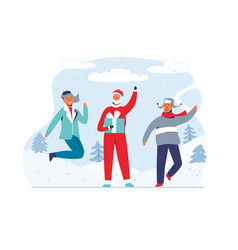 christmas santa claus with happy people vector image