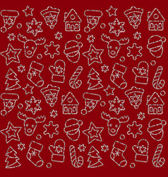 christmas toys pattern with silver outline sequins vector image