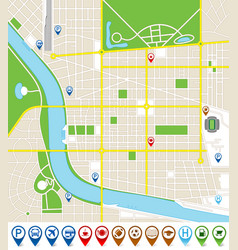 City map with marker icons vector