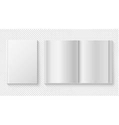 closed and opened book white cover template vector image