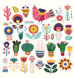 collection with flowers vector image