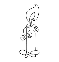 coloring book with burning candle flame the vector image