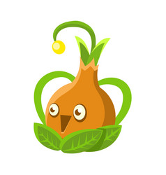 cute fantastic orange plant character shape of a vector image