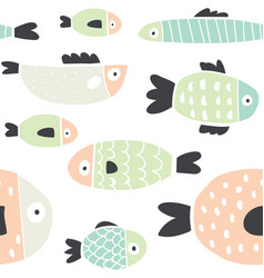 cute handdrawn colorful fish seamless pattern vector image