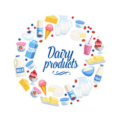 dairy products icons vector image