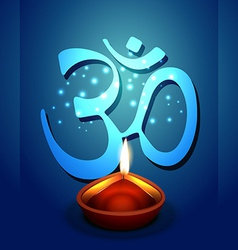 Diwali diya with om symbol vector