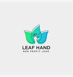 Eco leaf hand care logo template icon element vector