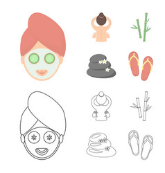 face with a cosmetic mask with cucumbers massage vector image