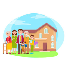 family anf building poster vector image