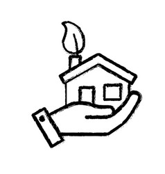 figure hand with house with ecological leaf to vector image