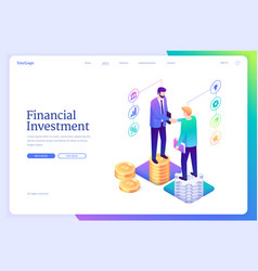 financial investment isometric landing invest plan vector image