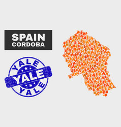 fired mosaic cordoba spanish province map and vector image