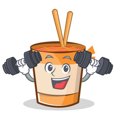 Fitness cup noodles character cartoon vector